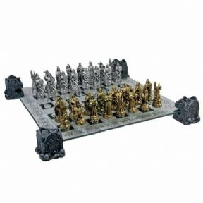 Collectable Gold and Silver Skull Chess Set Ideal Gothic Gift